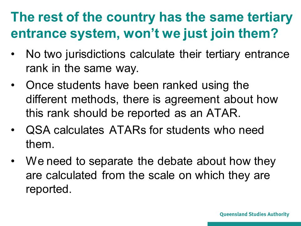 What we have in common with the other jurisdictions Everyone needs to scale results in subjects.