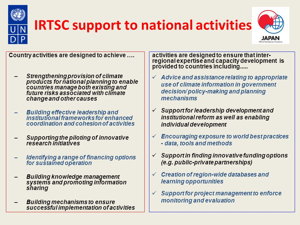 IRTSC support to national activities Country activities are designed to achieve …. –Strengthening provision of climate products for national planning