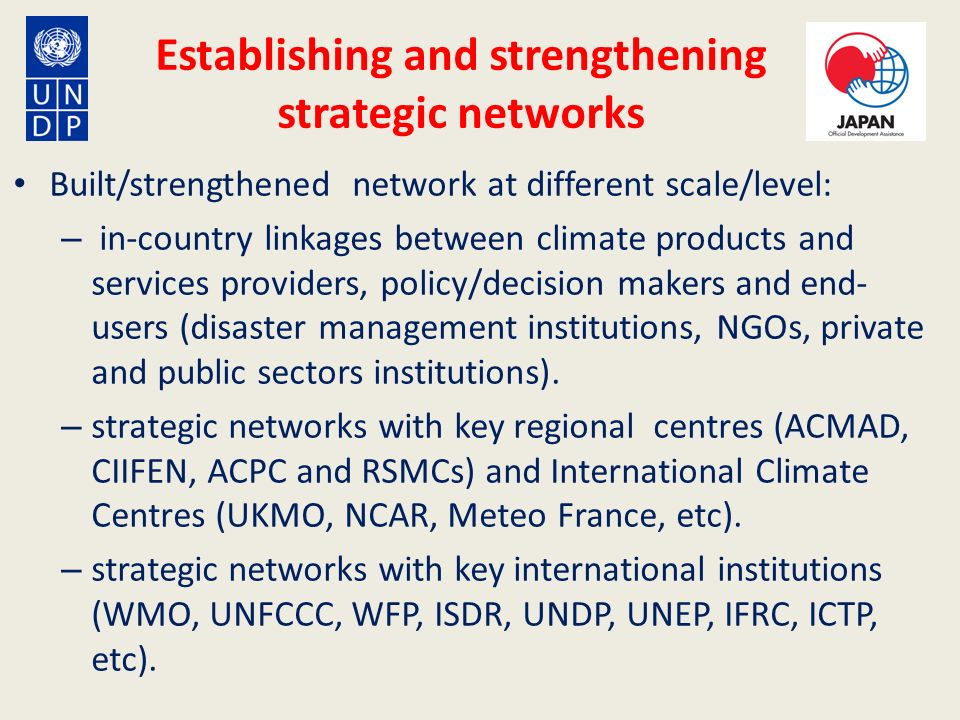 Establishing and strengthening strategic networks Built/strengthened network at different scale/level: – in-country linkages between climate products