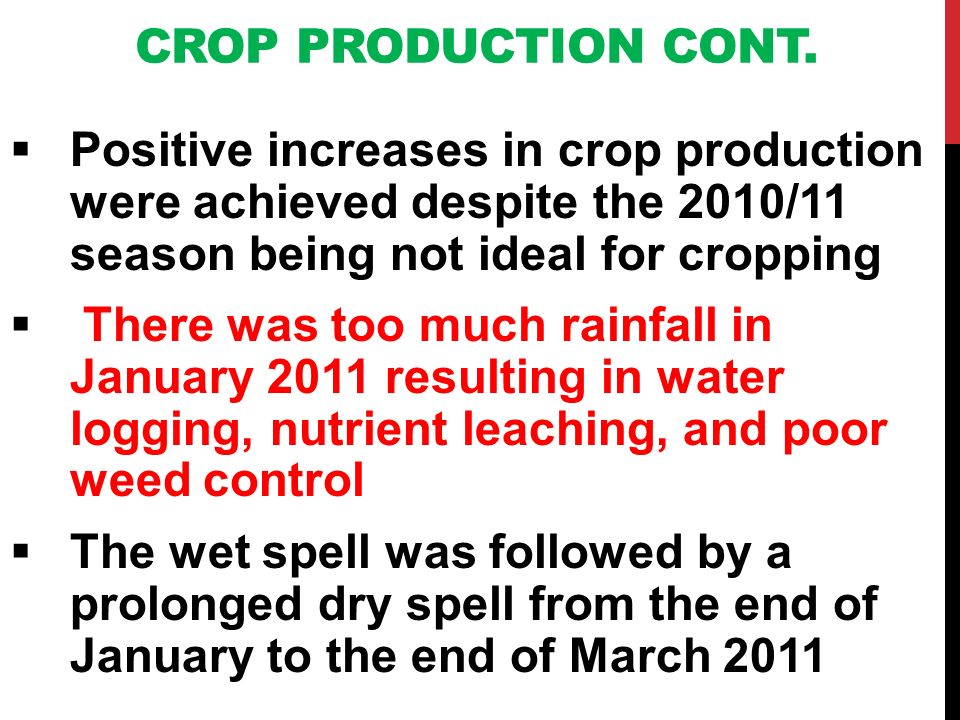 CROP PRODUCTION CONT. Positive increases in crop production were achieved despite the 2010/11 season being not ideal for cropping There was too much r