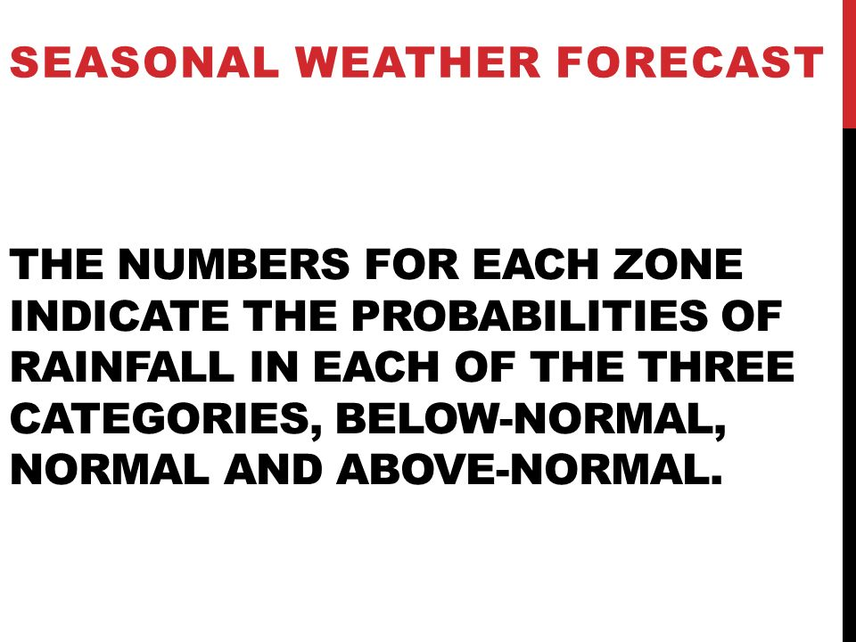 THE NUMBERS FOR EACH ZONE INDICATE THE PROBABILITIES OF RAINFALL IN EACH OF THE THREE CATEGORIES, BELOW-NORMAL, NORMAL AND ABOVE-NORMAL. SEASONAL WEAT