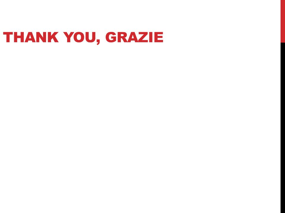 THANK YOU, GRAZIE