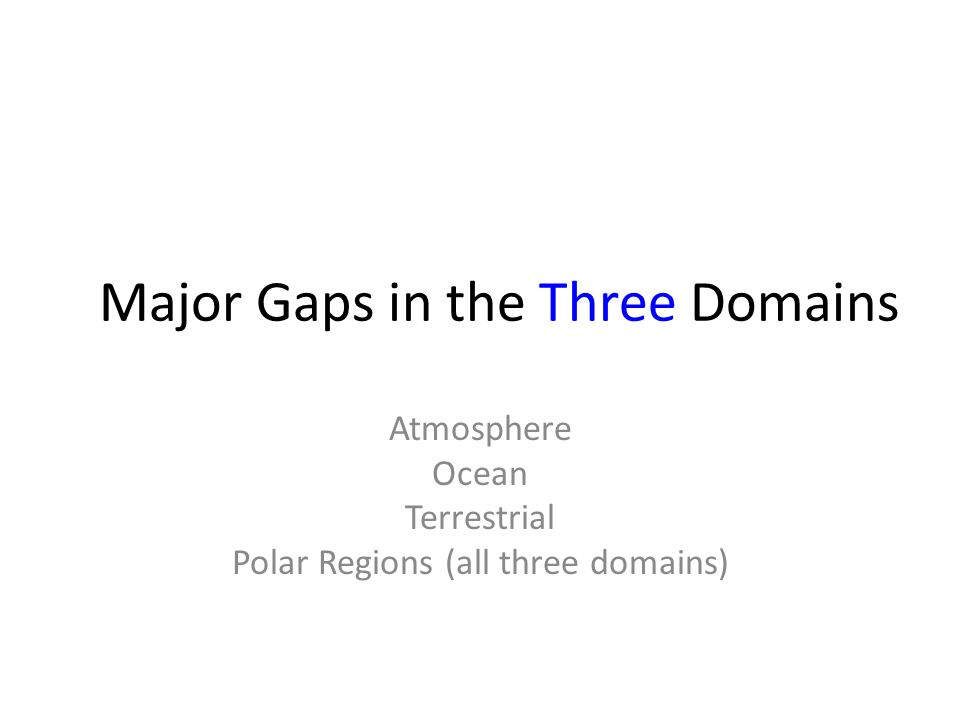 Major Gaps in the Three Domains Atmosphere Ocean Terrestrial Polar Regions (all three domains)