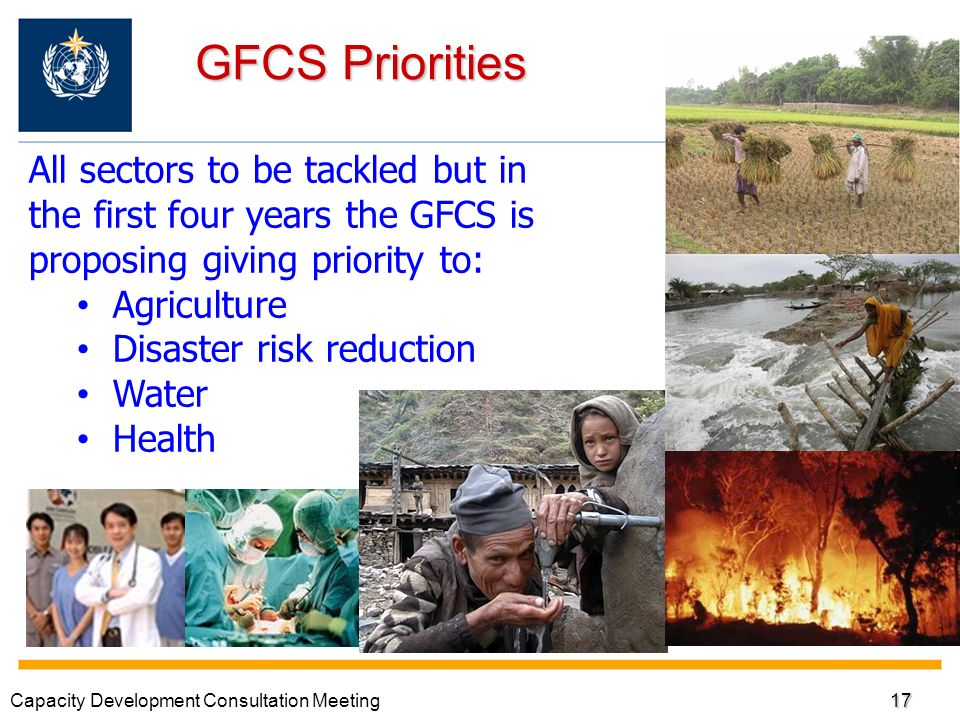 GFCS Priorities All sectors to be tackled but in the first four years the GFCS is proposing giving priority to: Agriculture Disaster risk reduction Water Health Capacity Development Consultation Meeting17