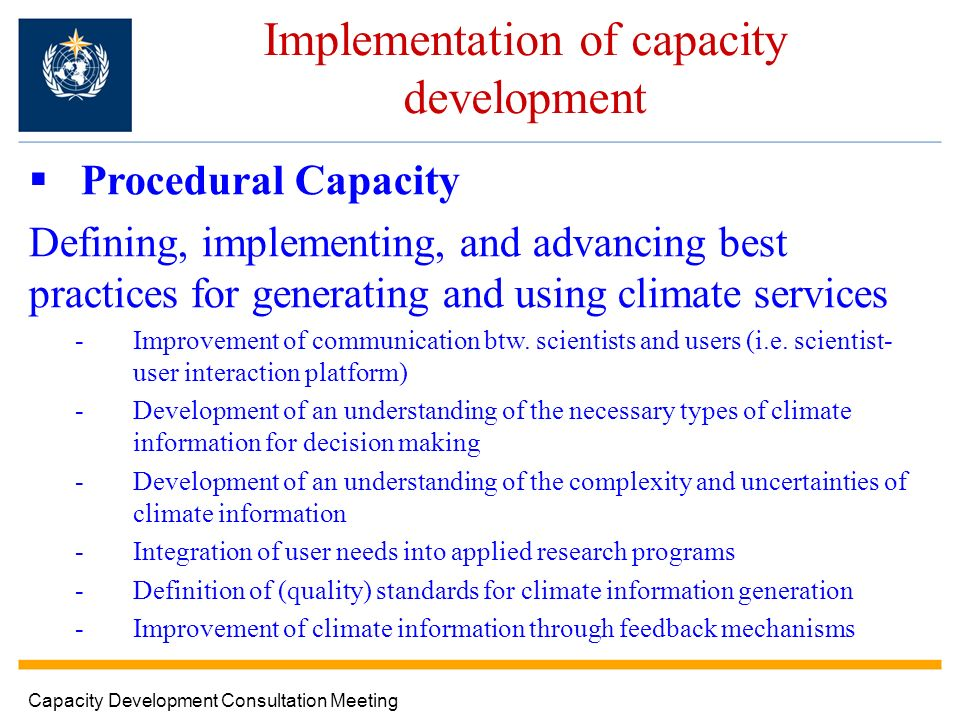 Implementation of capacity development Procedural Capacity Defining, implementing, and advancing best practices for generating and using climate services -Improvement of communication btw.