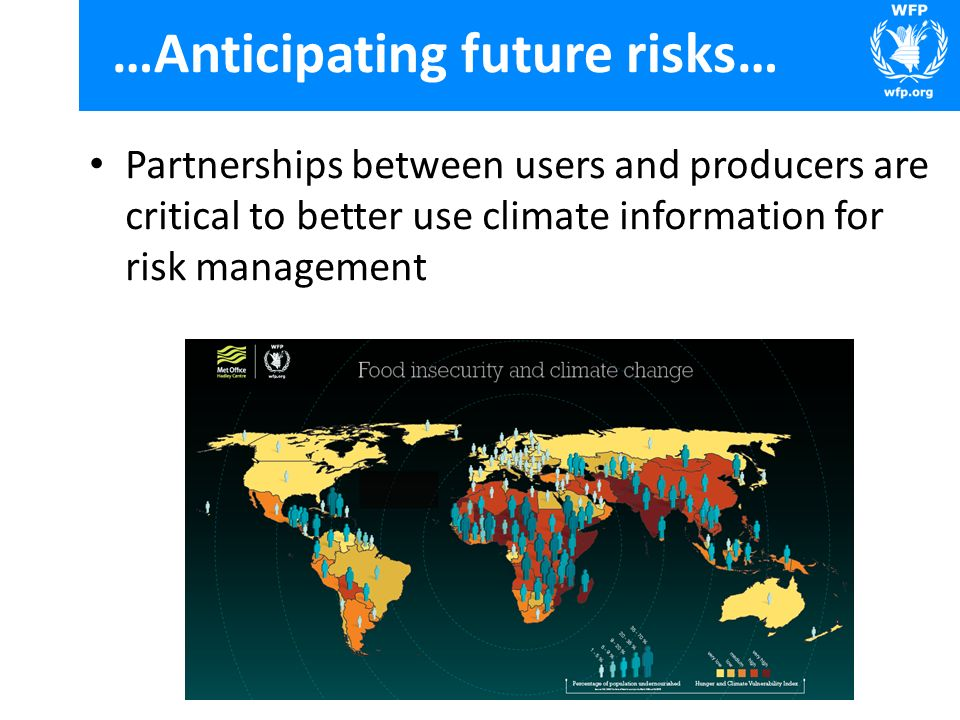 …Anticipating future risks… Partnerships between users and producers are critical to better use climate information for risk management