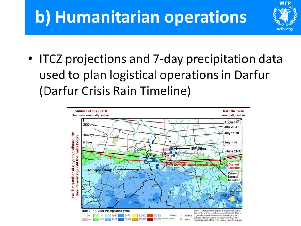 ITCZ projections and 7-day precipitation data used to plan logistical operations in Darfur (Darfur Crisis Rain Timeline) b) Humanitarian operations