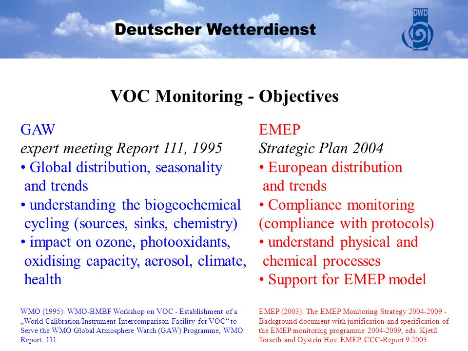GAW expert meeting Report 111, 1995 Global distribution, seasonality and trends understanding the biogeochemical cycling (sources, sinks, chemistry) i