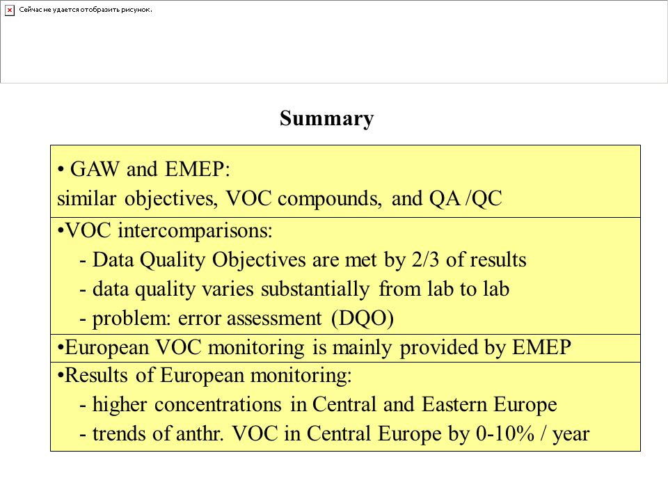 Summary GAW and EMEP: similar objectives, VOC compounds, and QA /QC Results of European monitoring: - higher concentrations in Central and Eastern Eur