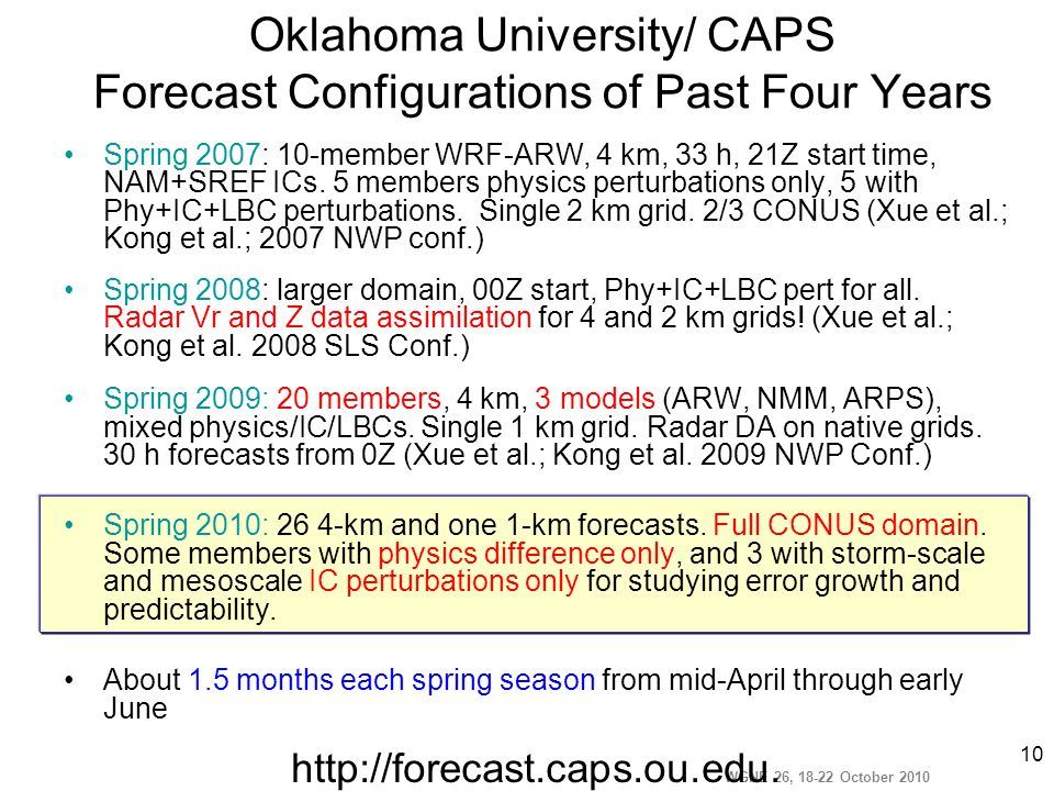 WGNE 26, 18-22 October 2010 10 Oklahoma University/ CAPS Forecast Configurations of Past Four Years Spring 2007: 10-member WRF-ARW, 4 km, 33 h, 21Z st