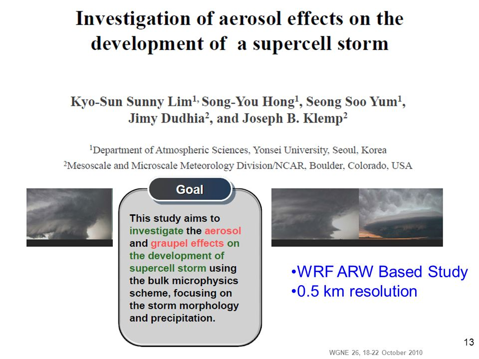 WGNE 26, 18-22 October 2010 13 WRF ARW Based Study 0.5 km resolution