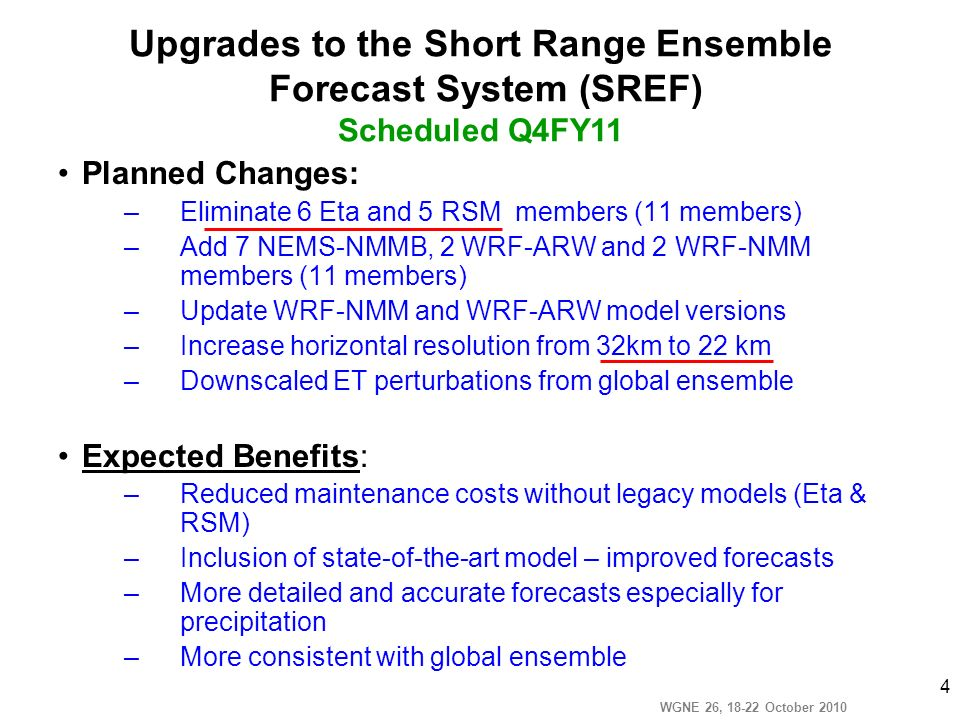 WGNE 26, 18-22 October 2010 4 Planned Changes: –Eliminate 6 Eta and 5 RSM members (11 members) –Add 7 NEMS-NMMB, 2 WRF-ARW and 2 WRF-NMM members (11 m