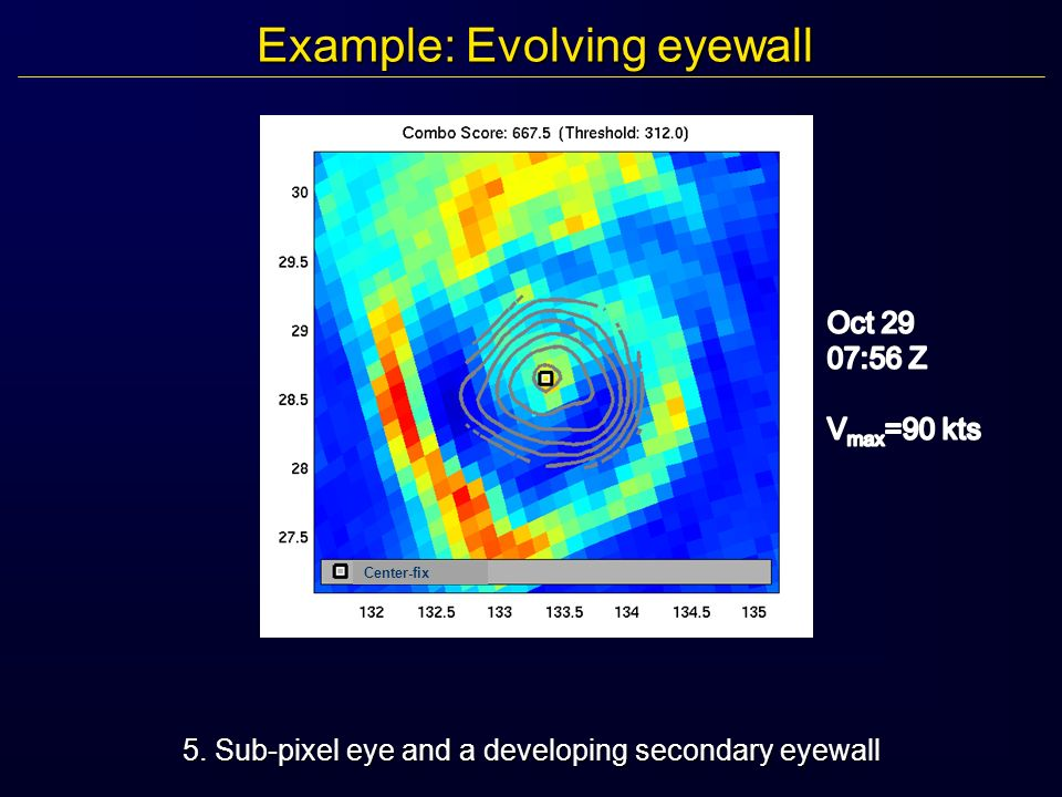 Example: Evolving eyewall 5. Sub-pixel eye and a developing secondary eyewall Center-fix