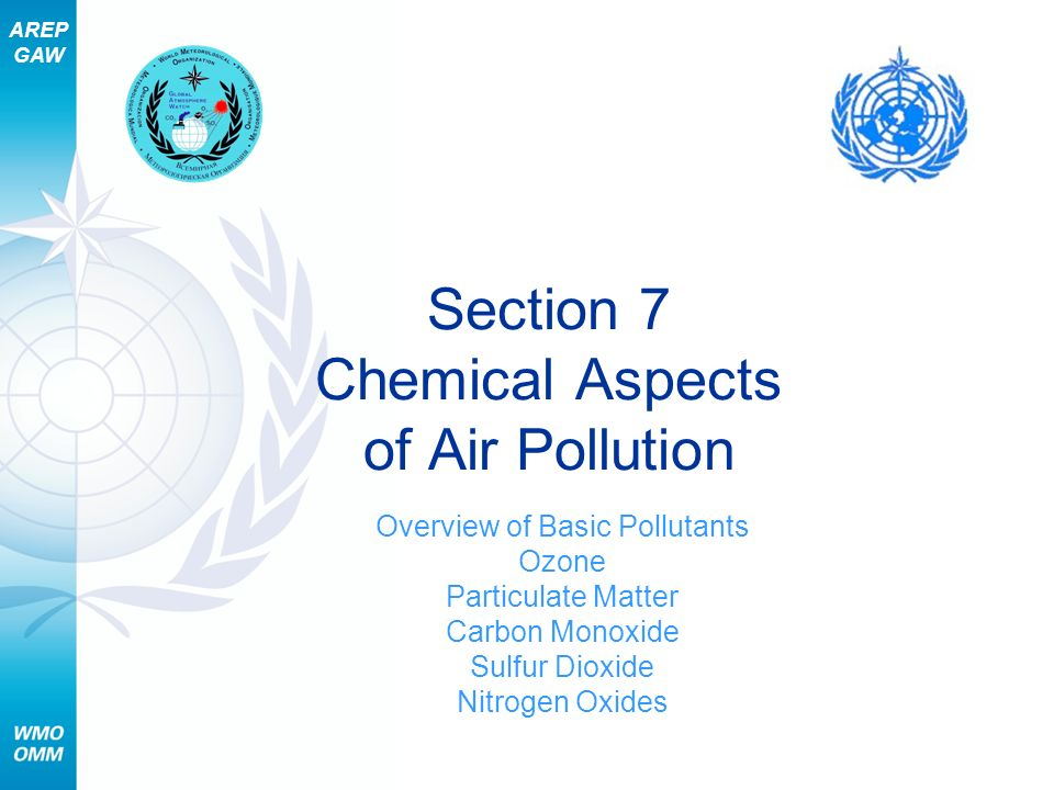AREP GAW Section 7 – Chemical Aspects of Air Pollution 12 Basic Pollutants – Sources (2 of 4) Combustion Complete combustion Fuel water and carbon dioxide (CO 2 ) Incomplete combustion Fuel water, CO 2, and other pollutants Pollutants are both gases and particles
