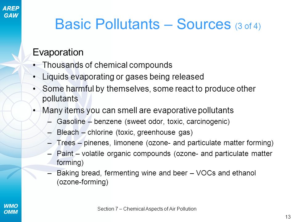 AREP GAW Section 7 – Chemical Aspects of Air Pollution 13 Basic Pollutants – Sources (3 of 4) Evaporation Thousands of chemical compounds Liquids evap