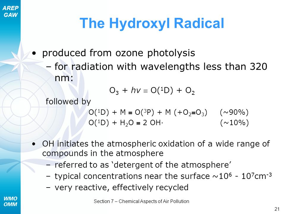 AREP GAW Section 7 – Chemical Aspects of Air Pollution 21 The Hydroxyl Radical produced from ozone photolysis –for radiation with wavelengths less tha