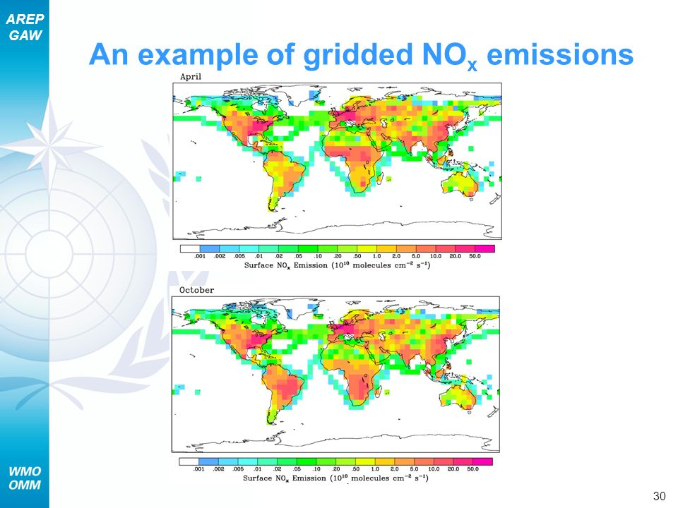AREP GAW Section 7 – Chemical Aspects of Air Pollution 30 An example of gridded NO x emissions