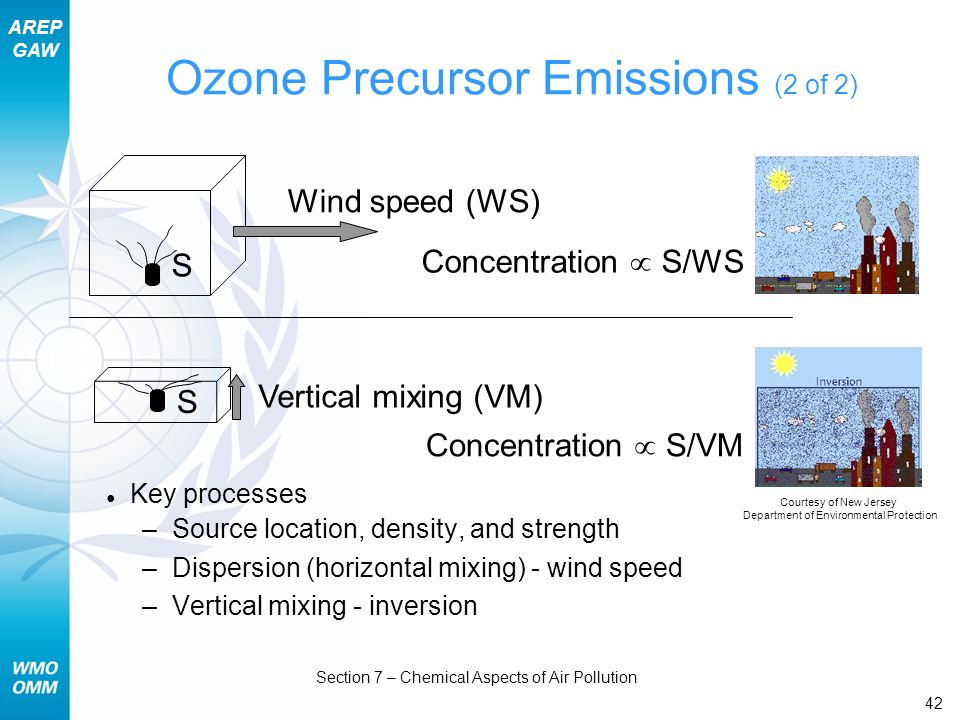 AREP GAW Section 7 – Chemical Aspects of Air Pollution 42 Ozone Precursor Emissions (2 of 2) Key processes –Source location, density, and strength –Di