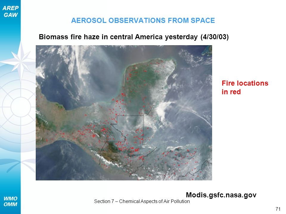 AREP GAW Section 7 – Chemical Aspects of Air Pollution 71 AEROSOL OBSERVATIONS FROM SPACE Biomass fire haze in central America yesterday (4/30/03) Fir