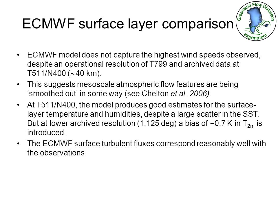 ECMWF surface layer comparison ECMWF model does not capture the highest wind speeds observed, despite an operational resolution of T799 and archived data at T511/N400 ( 40 km).