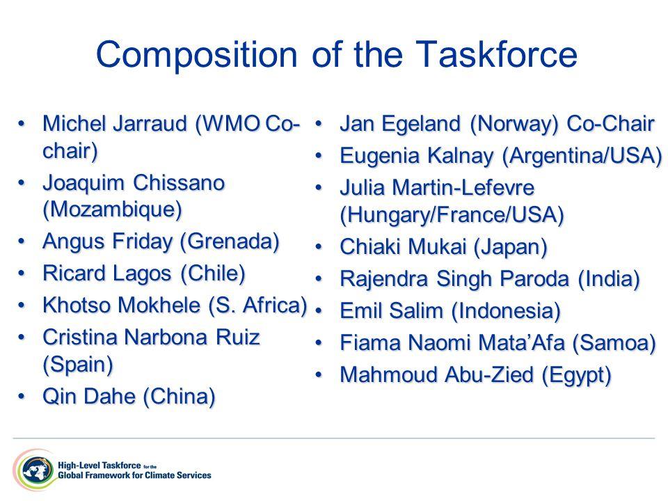 Composition of the Taskforce Michel Jarraud (WMO Co- chair)Michel Jarraud (WMO Co- chair) Joaquim Chissano (Mozambique)Joaquim Chissano (Mozambique) A