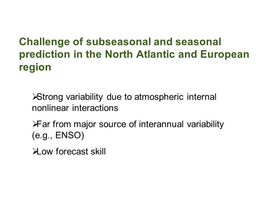 NAO skill of ensemble forecast Forecast NAO indexForced SVD2 GCM2 -0.13 0.30 GCM3 0.26 0.57 SEF 0.33 0.47 GEM 0.25 0.39 Temporal correlation with DJF observed NAO index Lead = 0