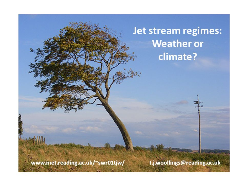 Jet stream regimes: Weather or climate.