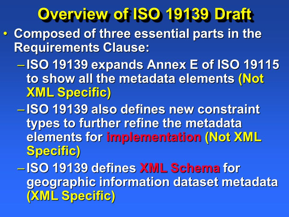 Overview of ISO 19139 Draft Composed of three essential parts in the Requirements Clause:Composed of three essential parts in the Requirements Clause:
