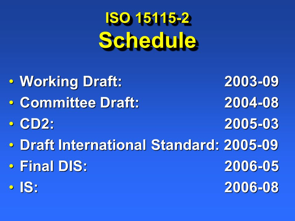 ISO 15115-2 Schedule Working Draft:2003-09Working Draft:2003-09 Committee Draft:2004-08Committee Draft:2004-08 CD2:2005-03CD2:2005-03 Draft Internatio