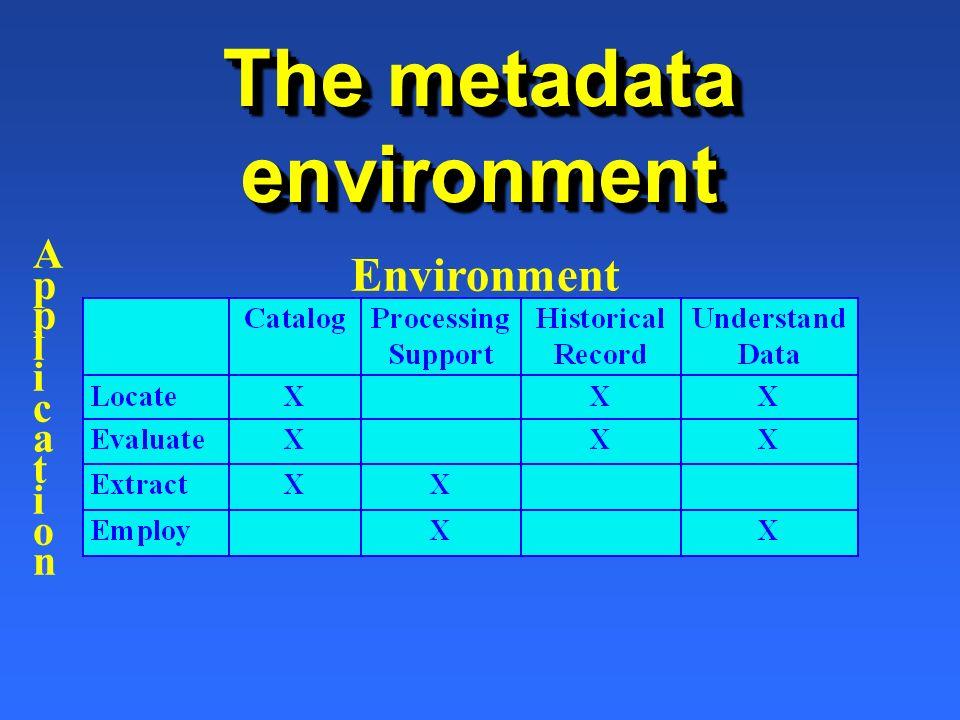 The metadata environment Environment ApplicationApplication
