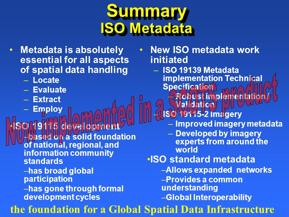 ISO 19115 development –based on a solid foundation of national, regional, and information community standards –has broad global participation –has gon