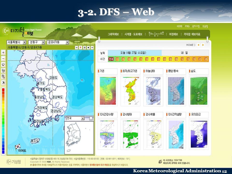 Korea Meteorological Administration 12 3-2. DFS – Web