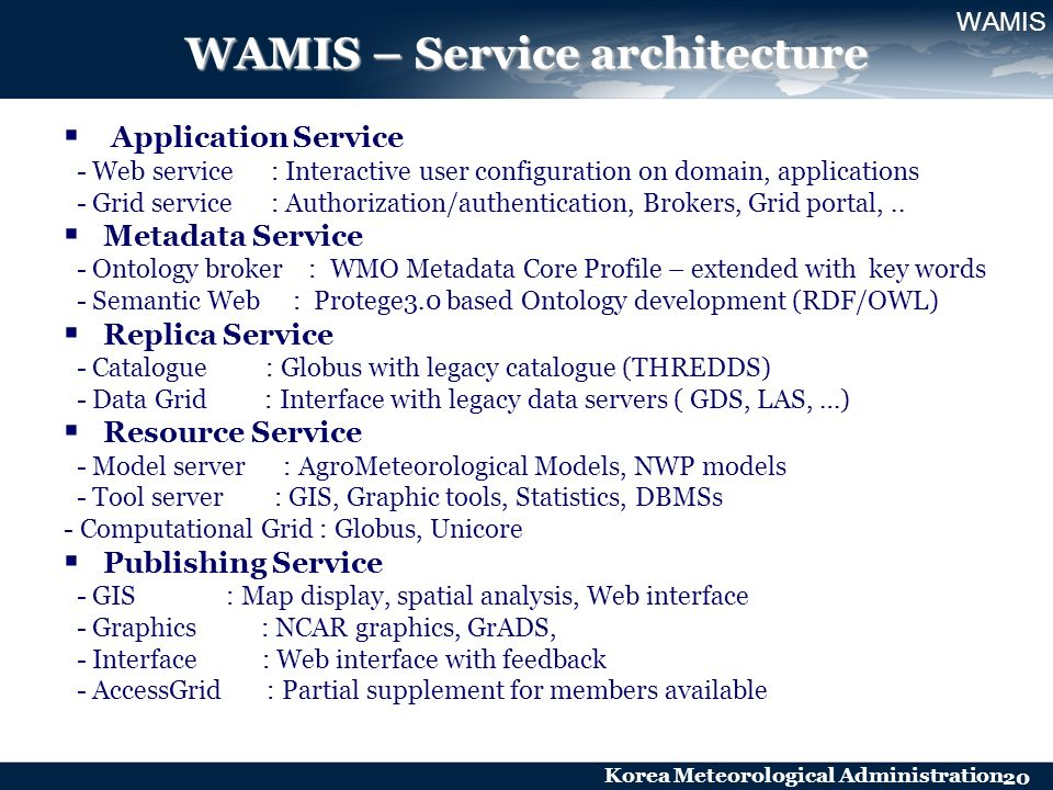 Korea Meteorological Administration 20 WAMIS – Service architecture Application Service - Web service : Interactive user configuration on domain, appl