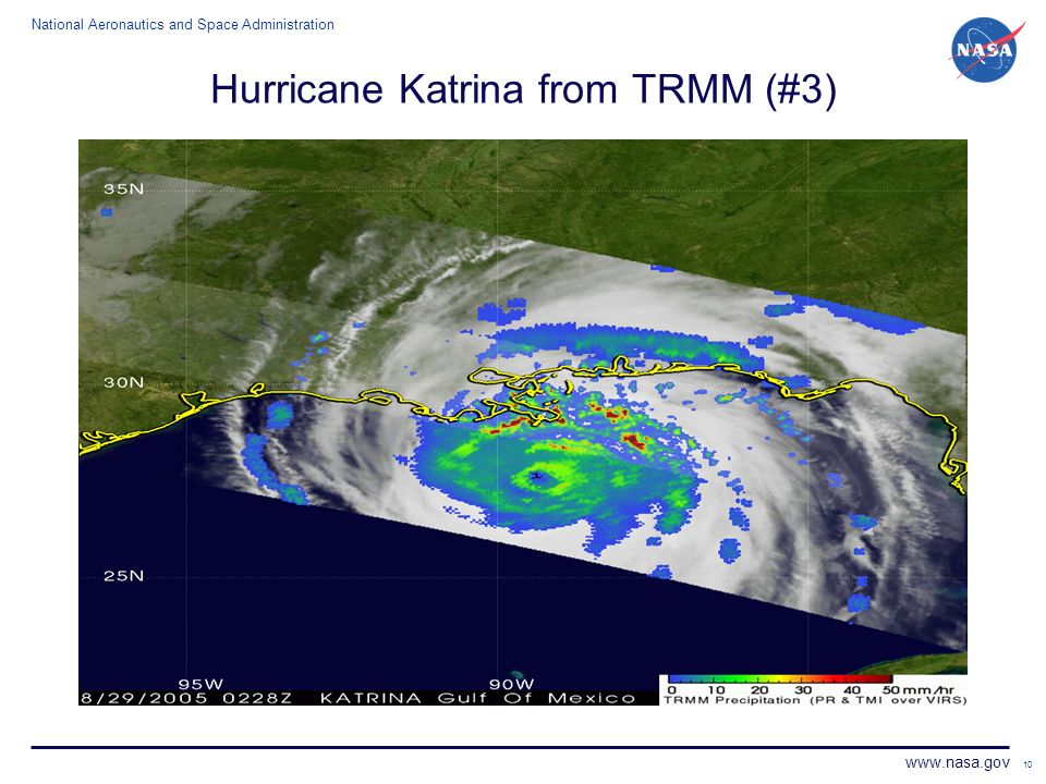 National Aeronautics and Space Administration www.nasa.gov 10 Hurricane Katrina from TRMM (#3)