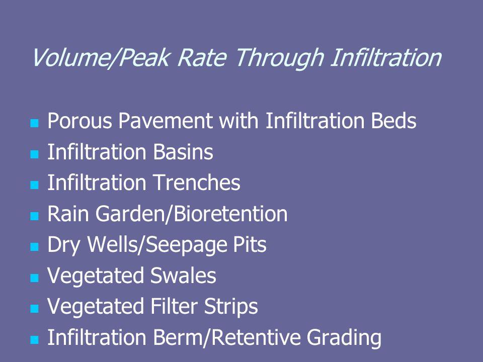Volume/Peak Rate Through Infiltration Porous Pavement with Infiltration Beds Infiltration Basins Infiltration Trenches Rain Garden/Bioretention Dry We