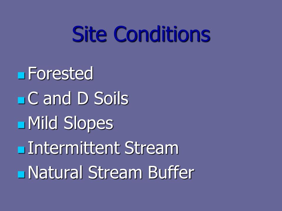 Site Conditions Forested Forested C and D Soils C and D Soils Mild Slopes Mild Slopes Intermittent Stream Intermittent Stream Natural Stream Buffer Natural Stream Buffer