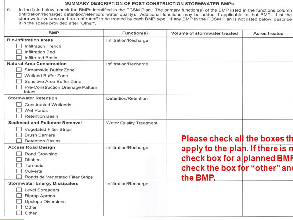 Please check all the boxes that apply to the plan. If there is no check box for a planned BMP, check the box for other and list the BMP.