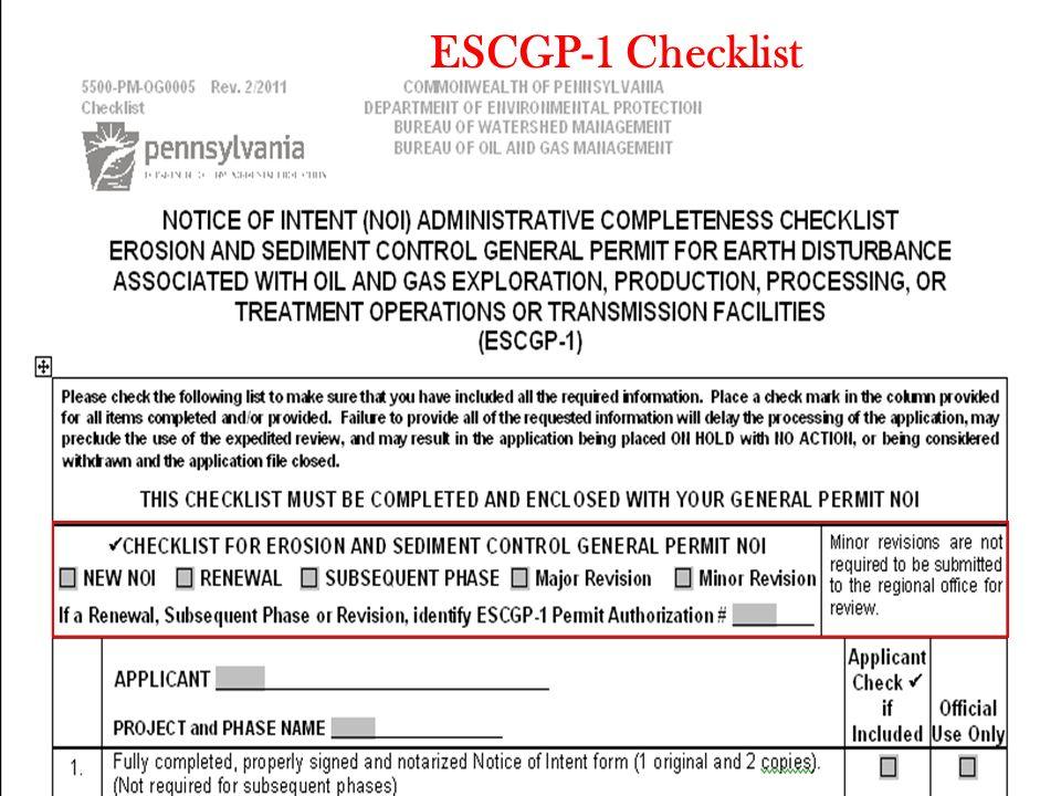 ESCGP-1 Checklist