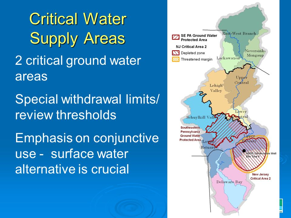 Critical Water Supply Areas 2 critical ground water areas Special withdrawal limits/ review thresholds Emphasis on conjunctive use - surface water alternative is crucial