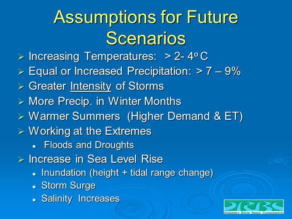 Assumptions for Future Scenarios Increasing Temperatures: > 2- 4 o C Increasing Temperatures: > 2- 4 o C Equal or Increased Precipitation: > 7 – 9% Equal or Increased Precipitation: > 7 – 9% Greater Intensity of Storms Greater Intensity of Storms More Precip.