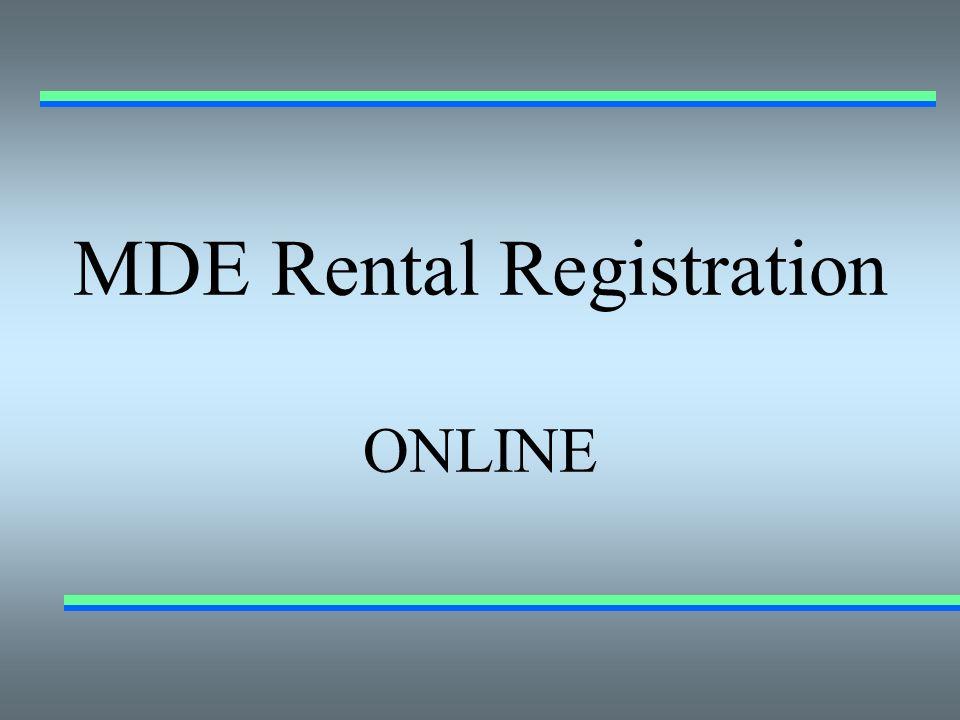 MDE Rental Registration ONLINE