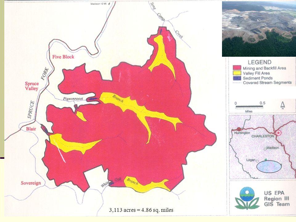 3,113 acres = 4.86 sq. miles