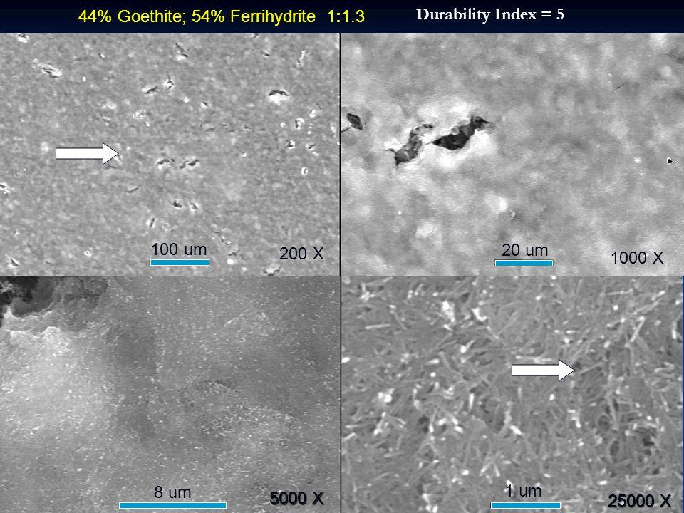 200 X 1000 X 25000 X 100 um 20 um 1 um 8 um 5000 X 44% Goethite; 54% Ferrihydrite 1:1.3 Durability Index = 5