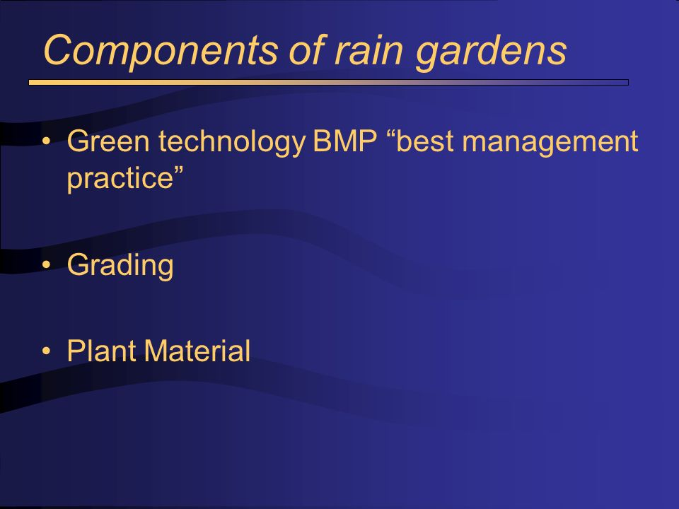 Treating run-off from parking areas Rain gardens Bio-retention facility