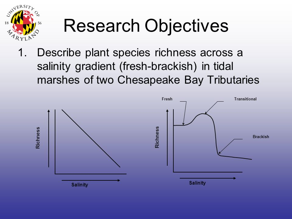 Research Objectives 1.Describe plant species richness across a salinity gradient (fresh-brackish) in tidal marshes of two Chesapeake Bay Tributaries Richness Salinity Richness Fresh Brackish Transitional