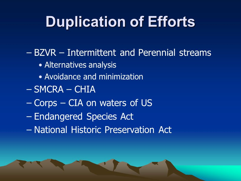 Duplication of Efforts –BZVR – Intermittent and Perennial streams Alternatives analysis Avoidance and minimization –SMCRA – CHIA –Corps – CIA on water