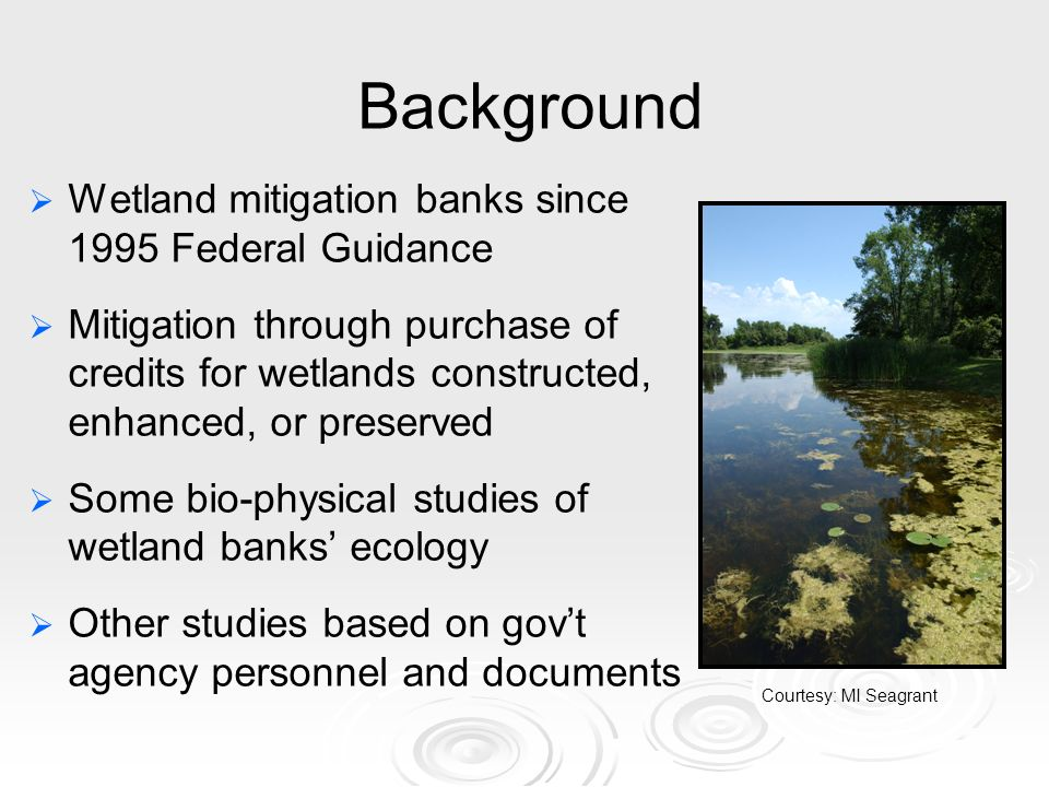 Background Wetland mitigation banks since 1995 Federal Guidance Mitigation through purchase of credits for wetlands constructed, enhanced, or preserved Some bio-physical studies of wetland banks ecology Other studies based on govt agency personnel and documents Courtesy: MI Seagrant