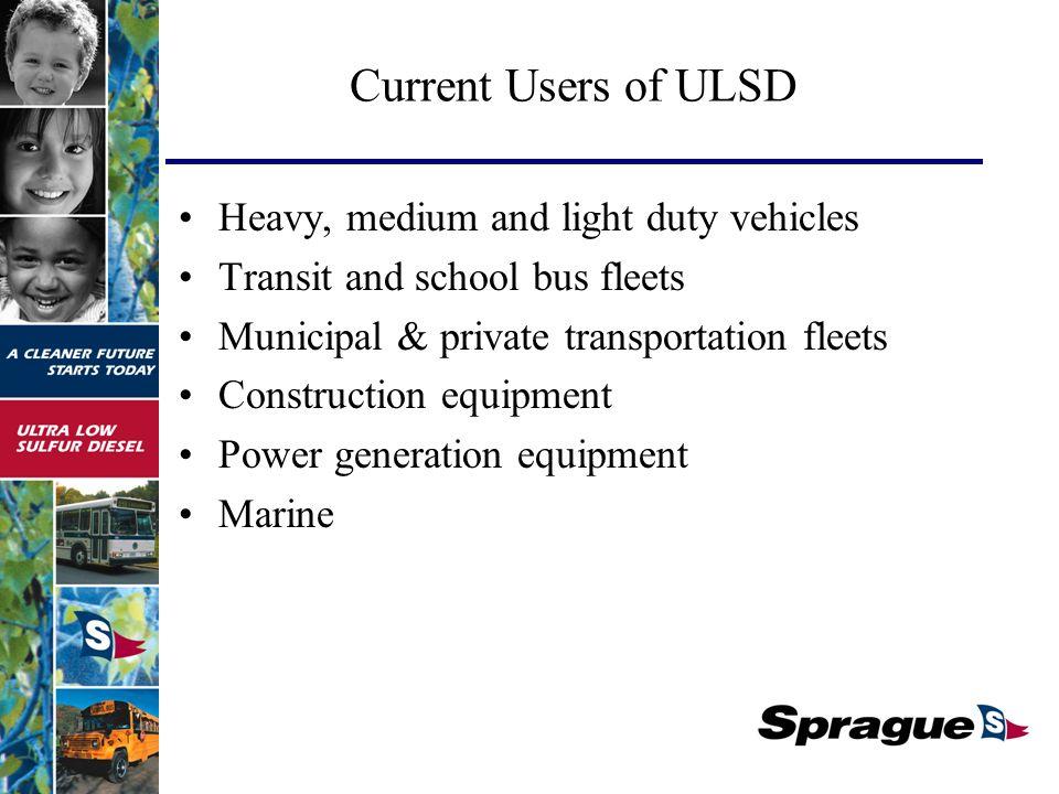 Current Users of ULSD Heavy, medium and light duty vehicles Transit and school bus fleets Municipal & private transportation fleets Construction equipment Power generation equipment Marine