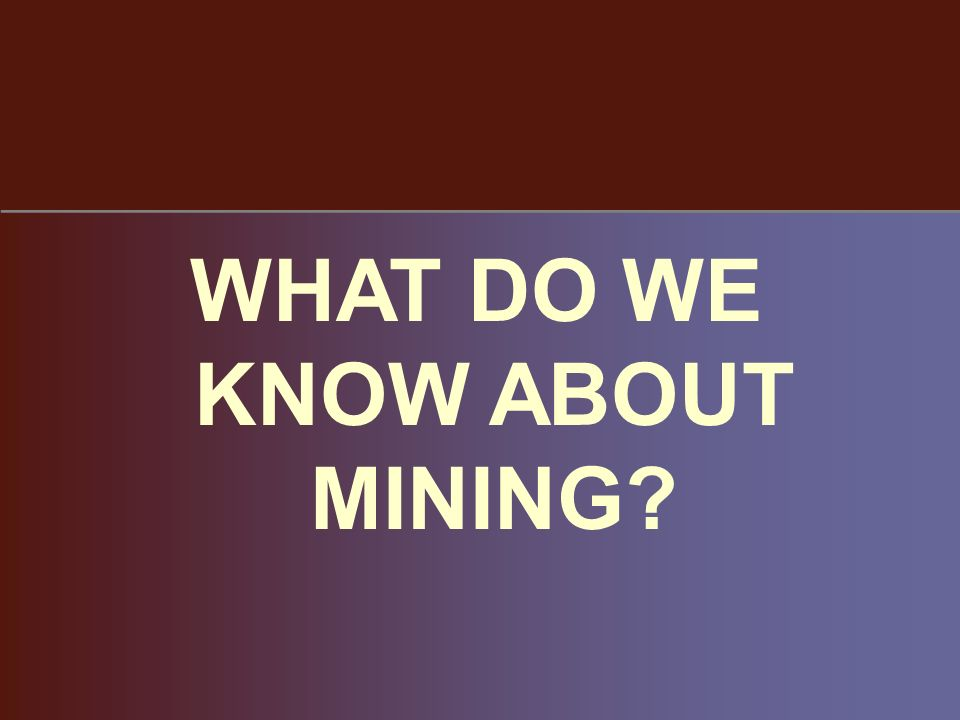 WHAT DO WE KNOW ABOUT MINING