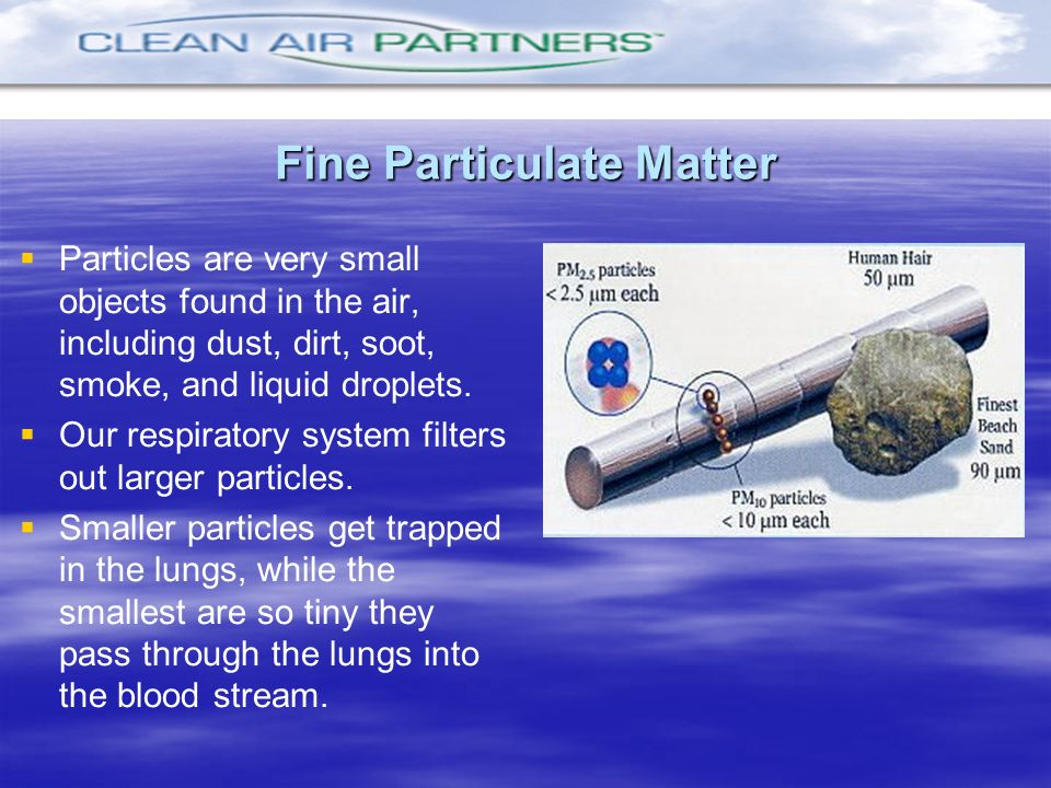 Fine Particulate Matter Particles are very small objects found in the air, including dust, dirt, soot, smoke, and liquid droplets. Our respiratory sys
